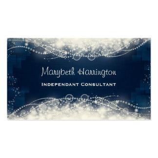 Cordón y perlas abstractos elegantes en azul tarjetas de visita