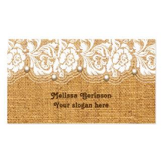 Cordón y perlas blancos en la arpillera de color tarjetas de visita