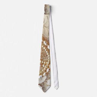 Cordón y perlas del boda corbata personalizada