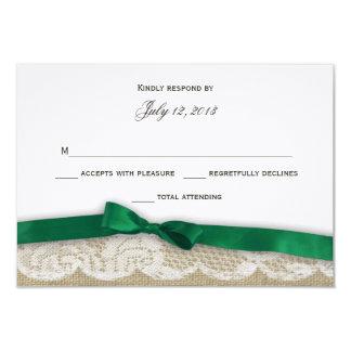"""Cordón y respuesta del arco del verde esmeralda invitación 3.5"""" x 5"""""""