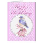 Cordón y rosa, escritura del cumpleaños de la flor tarjetón