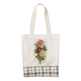 Cordón y rosas del vintage bolsa tote zazzle HEART
