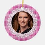 Cordón y tela escocesa - corazón en rosa adornos de navidad