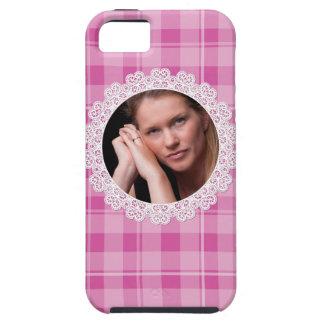 Cordón y tela escocesa - corazón en rosa funda para iPhone SE/5/5s
