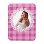 Cordón y tela escocesa - corazón en rosa imanes flexibles