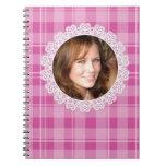 Cordón y tela escocesa - corazón en rosa libro de apuntes