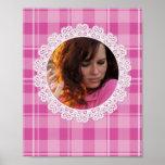 Cordón y tela escocesa - corazón en rosa posters