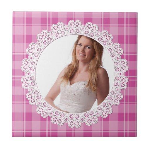 Cordón y tela escocesa - corazón en rosa tejas