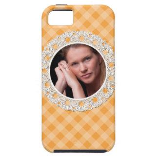 Cordón y tela escocesa - flor en naranja funda para iPhone SE/5/5s