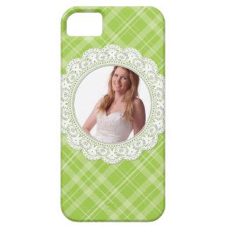 Cordón y tela escocesa - mariposa en verde funda para iPhone SE/5/5s