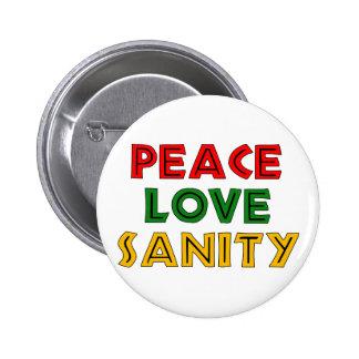 Cordura del amor de la paz pin redondo de 2 pulgadas