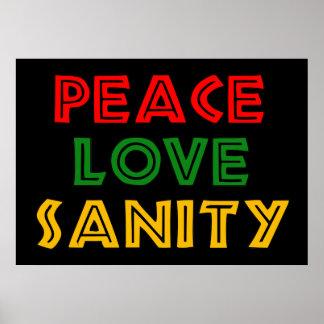 Cordura del amor de la paz póster