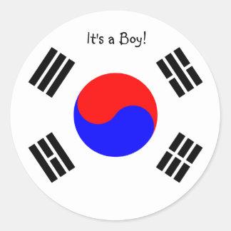Corea del Sur de las etiquetas engomadas de la Pegatina Redonda