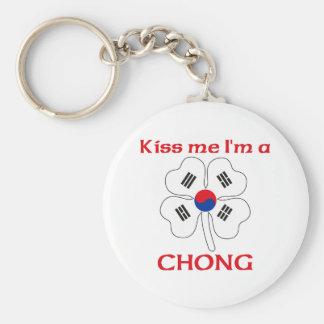 Coreanos personalizada me besan que soy Chong Llavero Redondo Tipo Pin