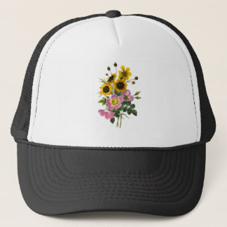 Coreopsis and Rose Hips Redoute Bouquet Trucker Hat