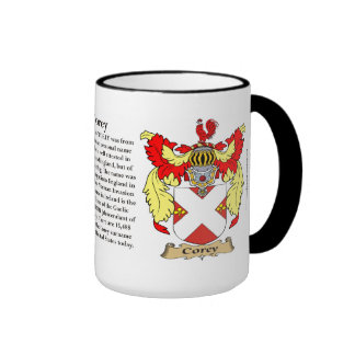Corey Family Coat of Arms Ringer Coffee Mug