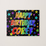 "[ Thumbnail: ""Corey"" First Name, Fun ""Happy Birthday"" Jigsaw Puzzle ]"