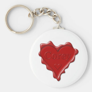 Corey. Red heart wax seal with name Corey Keychain