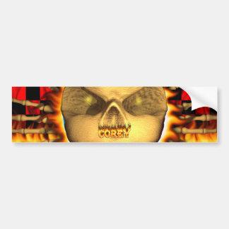 Corey skull real fire and flames bumper sticker de