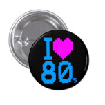COREY TIGER 1980s RETRO I HEART 80's LOVE 1 Inch Round Button