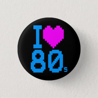 COREY TIGER 1980s RETRO I HEART 80's LOVE Button