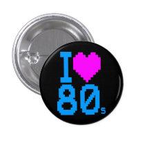 COREY TIGER 1980s RETRO I HEART 80's LOVE Button