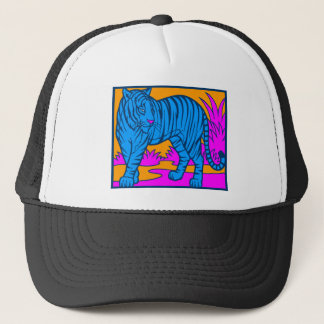 COREY TIGER 1980's RETRO JUNGLE TIGER BLUE Trucker Hat