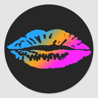 COREY TIGER 1980's RETRO LIPS MULTI COLOUR Sticker