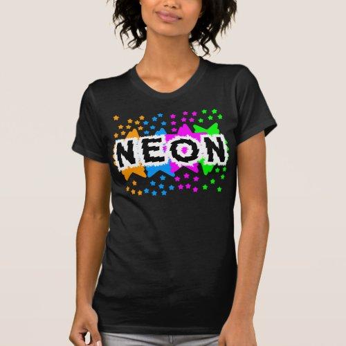 COREY TIGER 1980s RETRO NEON STARS T