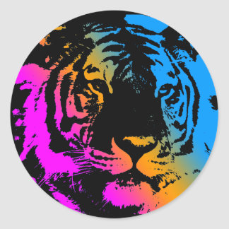 COREY TIGER 1980's RETRO TIGER FACE MULTI COLOURS Stickers
