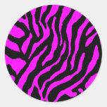 COREY TIGER 1980's RETRO TIGER STRIPES PINK Classic Round Sticker
