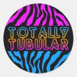 Corey Tiger 1980'S Retro Totally Tubular Stripes Classic Round Sticker