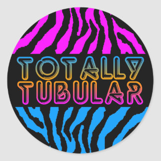 Corey Tiger 1980'S Retro Totally Tubular Stripes Round Stickers