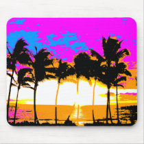 COREY TIGER 1980s RETRO VINTAGE PALM TREES SUNSET Mouse Pad