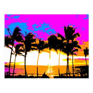 Corey Tiger 1980S Retro Vintage Palm Trees Sunset Postcard