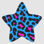 Corey Tiger 80s Leopard Spots (Blue) Star Sticker