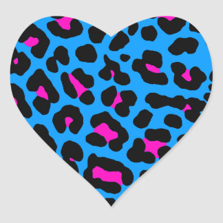 Corey Tiger 80s Leopard Spots (Blue) Heart Stickers