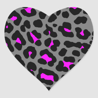 Corey Tiger 80s Leopard Spots (Gray) Heart Sticker