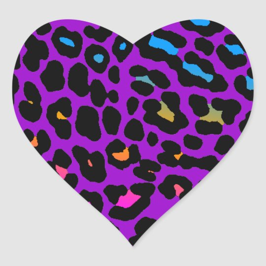 Corey Tiger 80s Leopard Spots (Purple) Heart Sticker