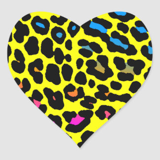 Corey Tiger 80s Leopard Spots (Yellow) Heart Stickers