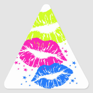Corey Tiger 80s Lips & Stars Triangle Sticker