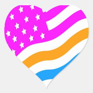 Corey Tiger 80s Neon American USA Flag Heart Sticker