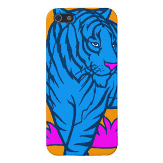 Corey Tiger 80s Neon Blue Tiger Case For iPhone SE/5/5s