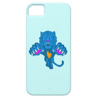 Corey Tiger 80s Neon Pouncing Tiger (Blue) iPhone SE/5/5s Case