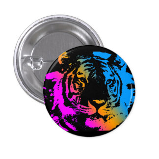 Corey Tiger 80s New Wave Tiger Face 1 Inch Round Button