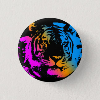 Corey Tiger 80s New Wave Tiger Face Pinback Button