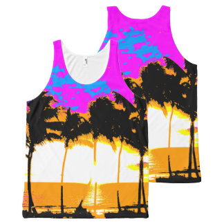 Corey Tiger 80s Palm Trees Beach All-Over Print Tank Top