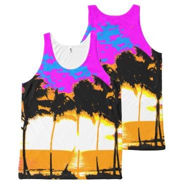 Beach Themed Corey Tiger 80s Palm Trees Beach All-Over-Print Tank Top