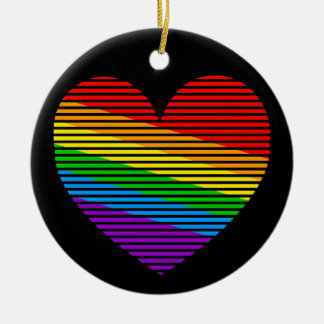 Corey Tiger 80s Rainbow Stripe Heart Ornament
