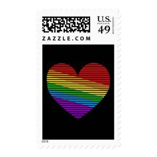 Corey Tiger 80s Rainbow Stripe Heart Postage Stamp
